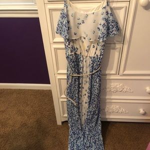 Blue and white floral maxi dress with a belt!